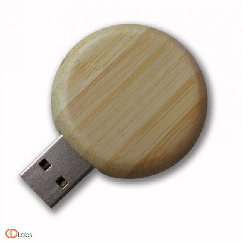 Деревянная флешка круглая
