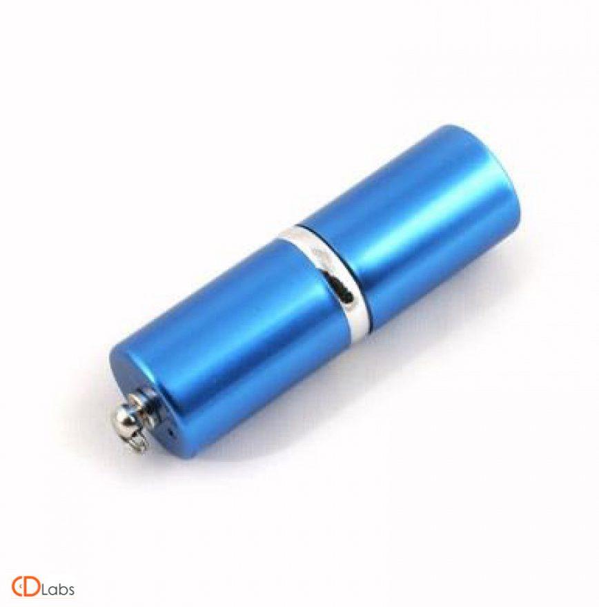 Металлическая флешка Цилиндр голубой