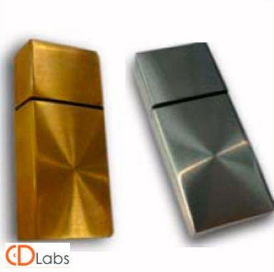 Металлическая флешка прямоугольная серебро, золото