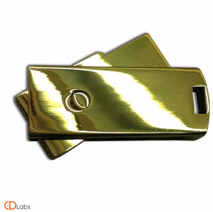 Мини флешка раскладная под золото