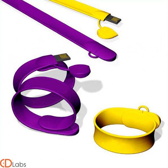 Флешка браслет желтая, фиолетовая