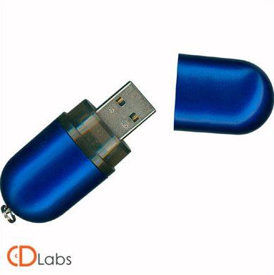 Пластиковая флешка ярко-синяя мини