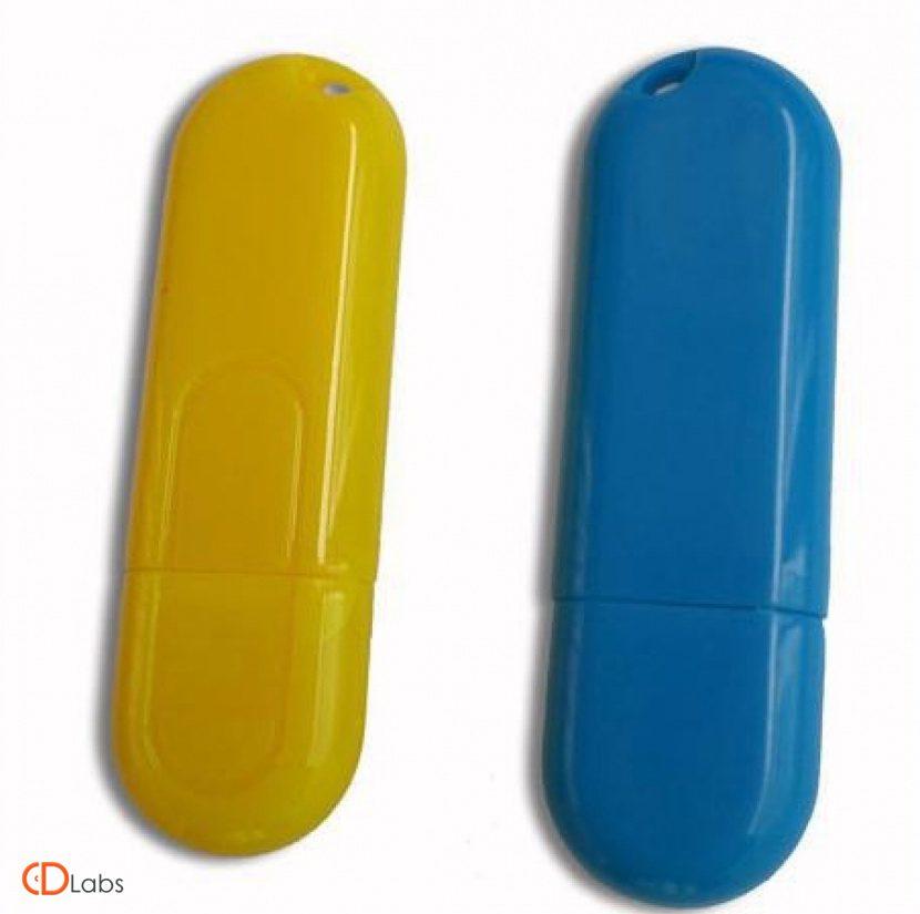 Пластиковая флешка синяя, желтая