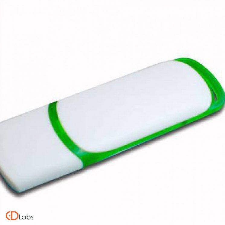 Пластиковая флешка бело-зеленая