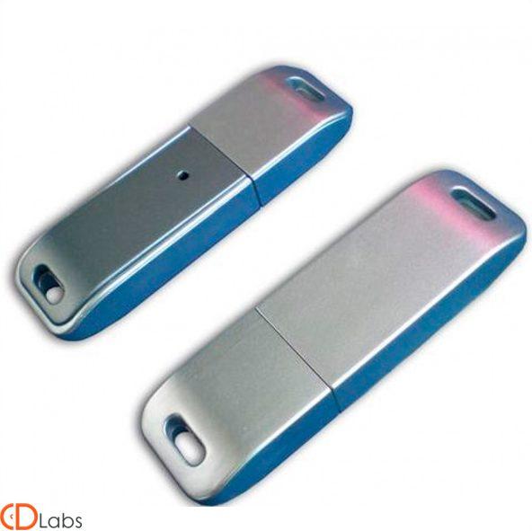 Пластиковая флешка серо-голубая прямоугольная