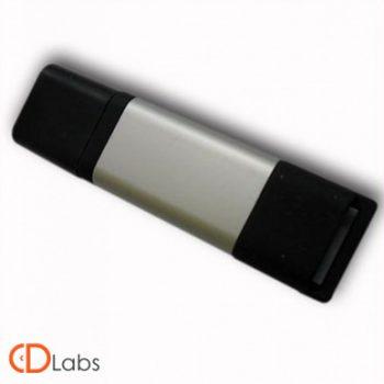Пластик-металл флешка комбинированная серо-черная