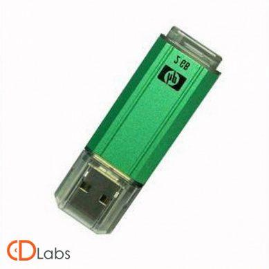 Пластик-металл флешка зеленая классическая