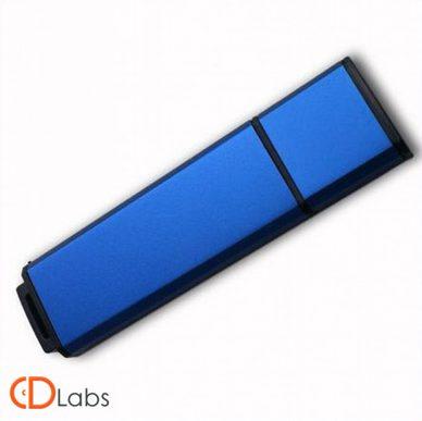 Пластиковая флешка синяя прямоугольная